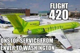 Flight 420 Denver to Washington Weed Meme