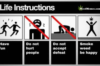 Life Instructions Smoke Weed Be Happy Marijuana Meme