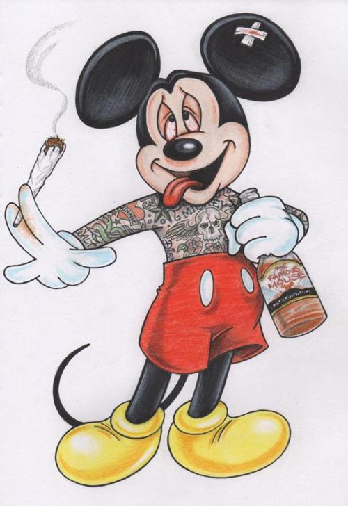Mickey Smoking Weed