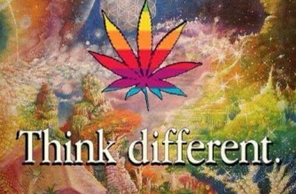 Think Different Apple Logo Spoof Weed Meme