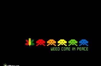 Weed Come In Peace Video Game Spoof Marijuana Art