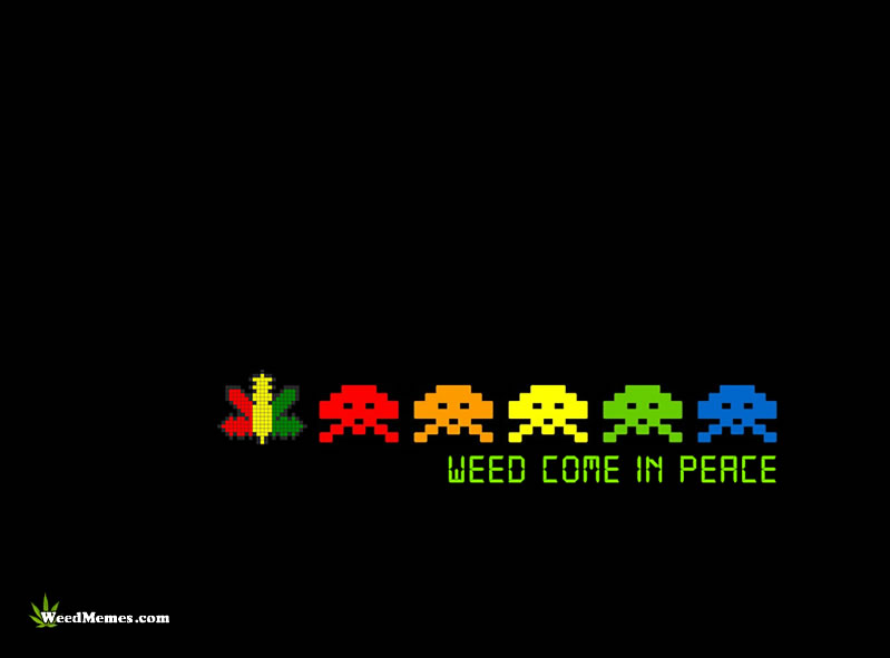 Weed Come In Peace Video Game Spoof Marijuana Art