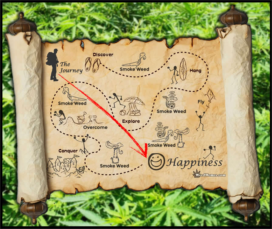 Stoner's Map To Life & Happiness Smoke Weed Memes