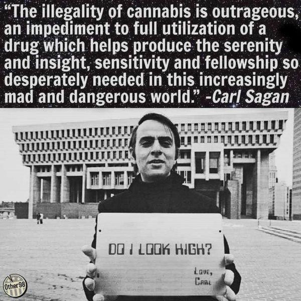 Carl Sagan Do I Look High Legalize Marijuana Quote Weed Memes