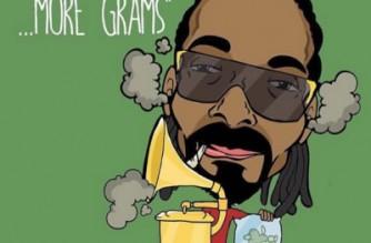 """Snoop Dogg Marijuana Cartoon Drawing """"LESS GRAMMY MORE GRAMS"""""""