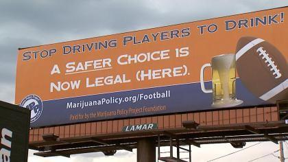 Football & Legal Weed vs Drinking Denver Billboard Weed Memes