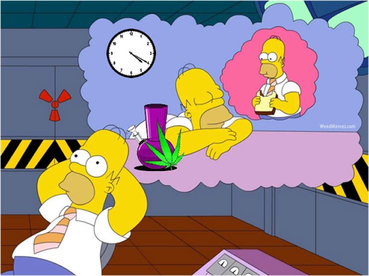 Homer Simpson 420 Weed Daydream Cartoon Stoner Memes