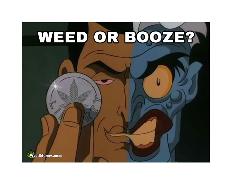 Two Face Weed or Booze Marijuana Coin Flip Weed Memes
