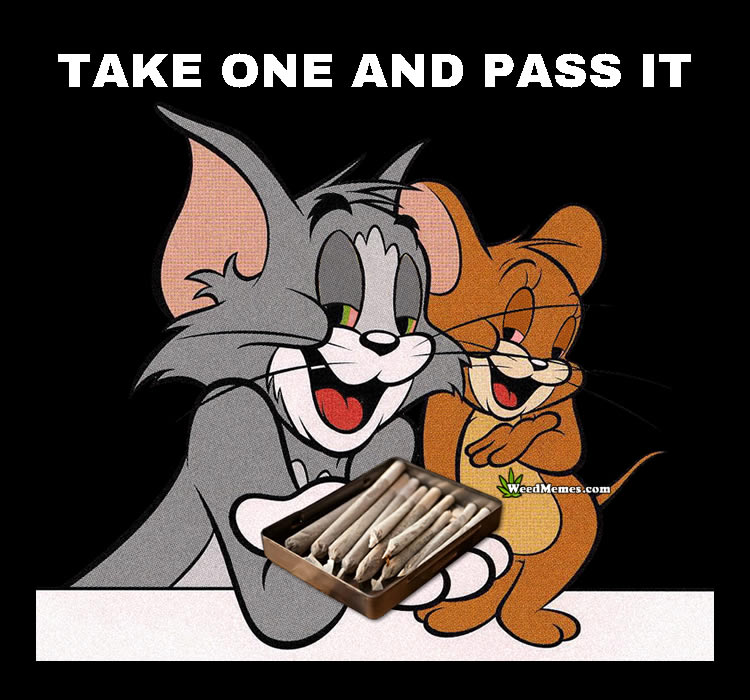 Tom and Jerry Weed Memes Passing The Joint Cartoon 420 Spoof