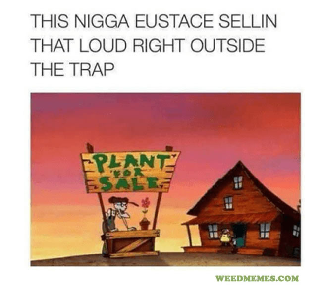 Eustace Selling Loud In Front of the Trap Funny Weed Memes