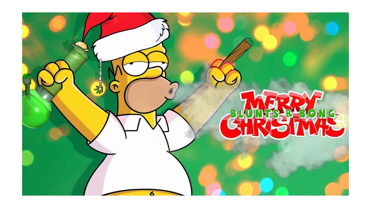 Homer Simpson Stoned Blunts & Bong Christmas Weed Memes