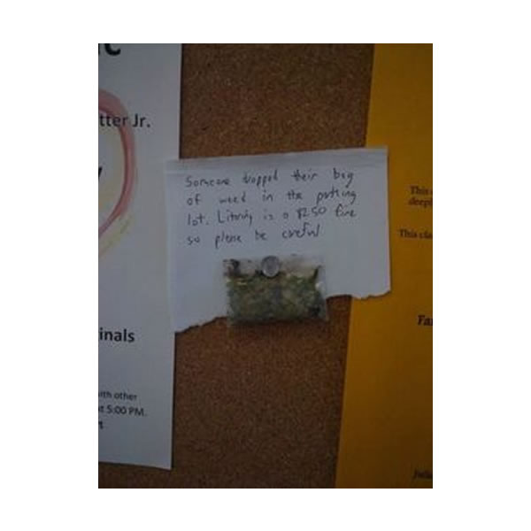Dropped Bag of Weed No Littering Funny Weed Pics