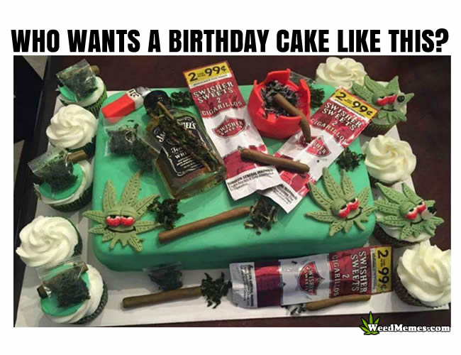 Marijuana Birthday Cake For Stoners Weed Memes