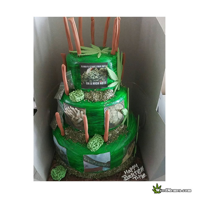 Birthday Cake With Joints For Candles Pic