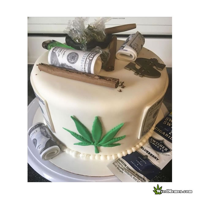Weed Birthday Cake With Real Blunt and Weed - Weed Memes
