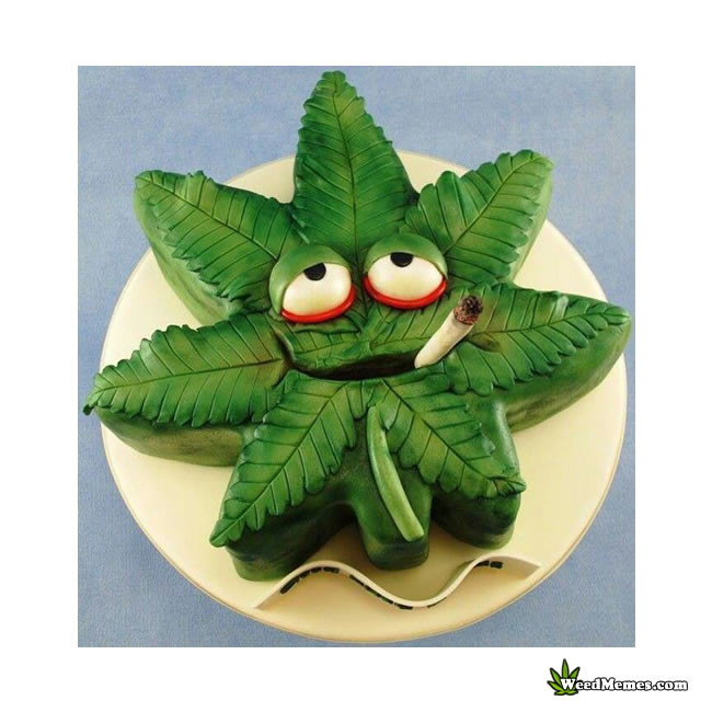 Weed Leaf Shaped Birthday Cake Smoking A Joint Weed Memes
