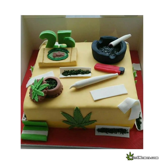 Weed Birthday Cake Square With Joint & Grinder - Weed Memes