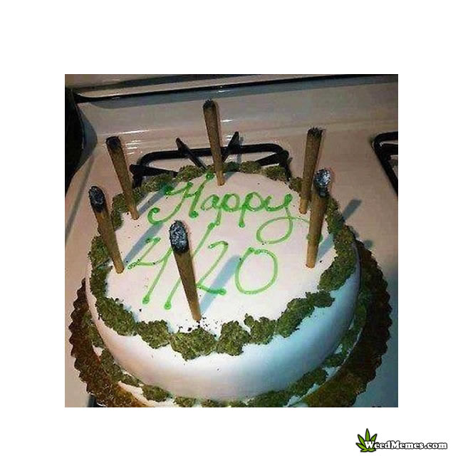 Happy Birthday 420 Cake With Real Blunts For Candles Weed Memes