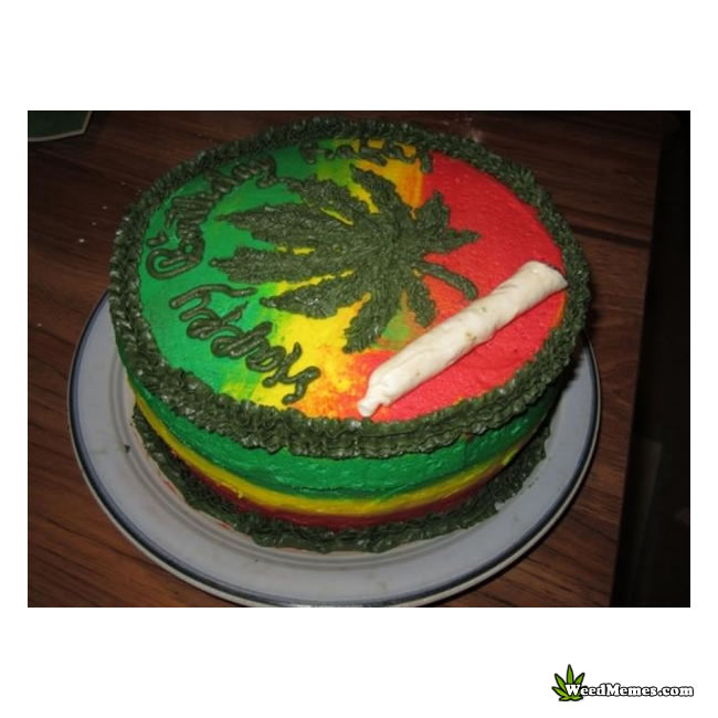 Weed Birthday Cake Jamaican Colors with Leaf and Joint Weed Memes