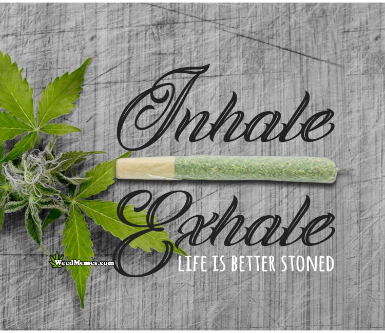 Inhale Exhale Shit Happens Smoke Weed Quote - Weed Memes