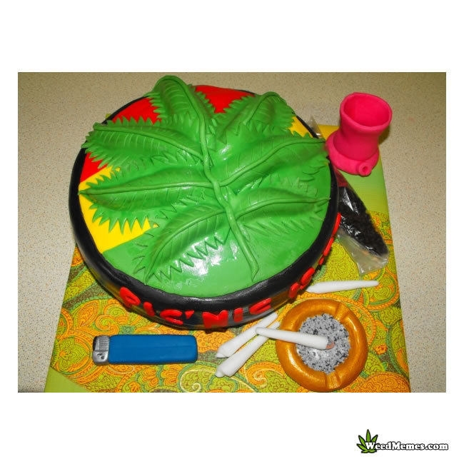 Wondrous Big Marijuana Leaf Icing Birthday Cake Weed Memes Funny Birthday Cards Online Overcheapnameinfo