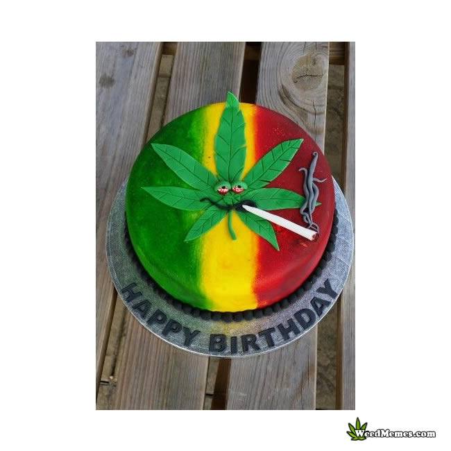 Swell Jamaican Colored Marijuana Birthday Cake Weed Memes Personalised Birthday Cards Paralily Jamesorg
